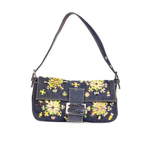 FENDI Denim Baguette with Floral Embroidery & Beads | Luxity