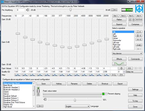 Peace Equalizer, interface Equalizer APO for PC Windows 10
