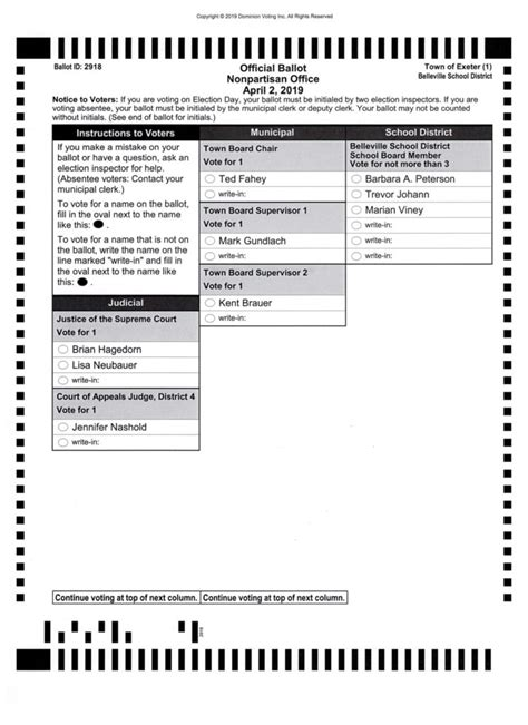 Spring General Election – Town of Exeter, Green County, WI