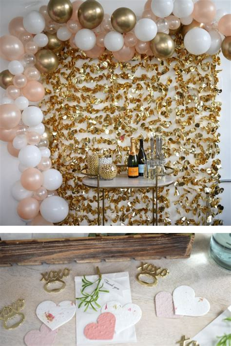 Rose Gold + Greenery Baby Shower Gold, pink, and white