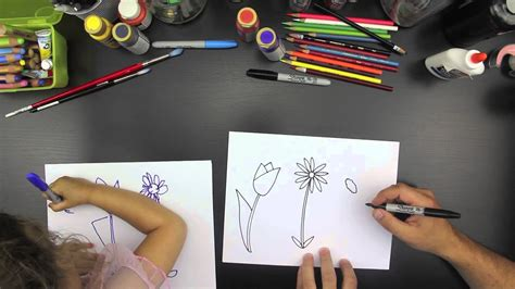 How To Draw Three Spring Flowers (for younger kids) - YouTube