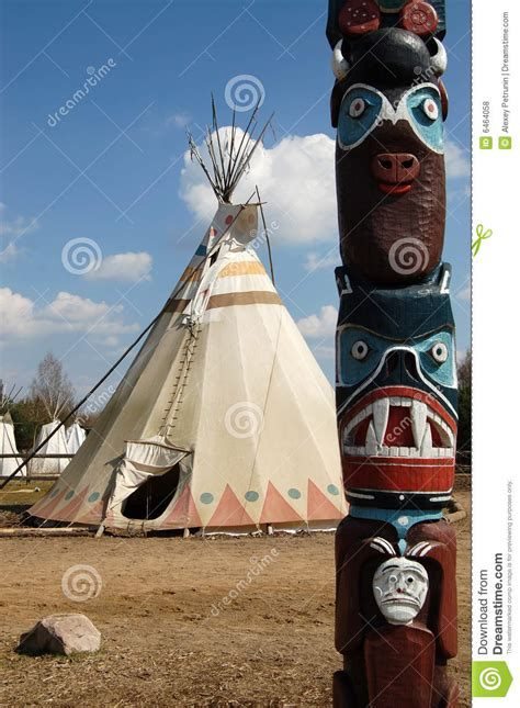 Indians Wigwam And Totem Royalty Free Stock Photos - Image