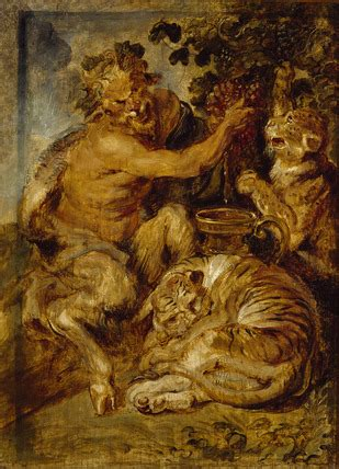A Satyr pressing Grapes with a Tiger and Leopard by Sir