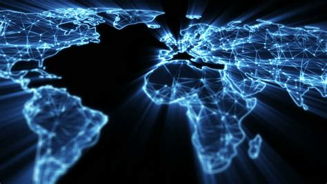 Glowing Blue World Map Panning Stock Footage Video (100%