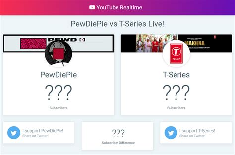 PewDiePie vs T-Series Live Subscriber Count — YouTube Realtime