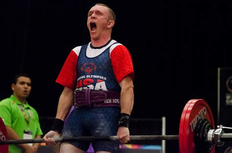 Special Olympics gold medalist powerlifter forms strong
