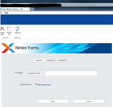 Solved: Open form on specific tab - Nintex Community