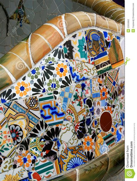 Park Bench, Parc Guell, Barcelona Stock Photo - Image